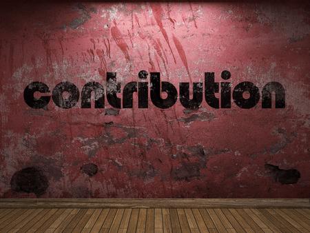 palabra contribución en la pared roja