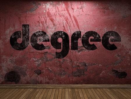 licenciatura: palabra grado en la pared roja Foto de archivo