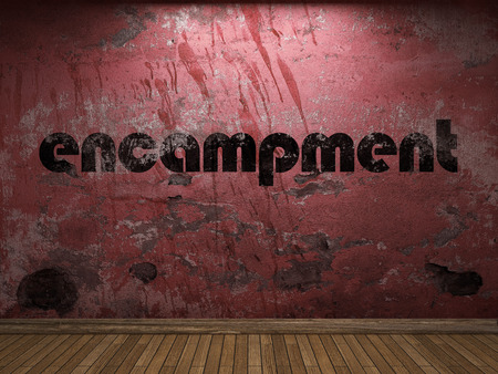 encampment: encampment word on red wall Stock Photo