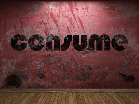 consume: consume word on red wall