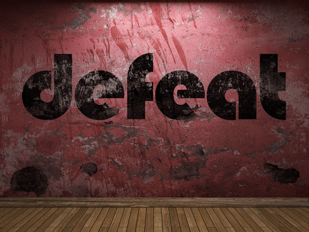 defeat: defeat word on red wall Stock Photo