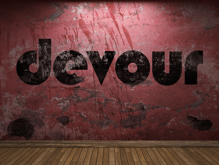 devour: devour word on red wall