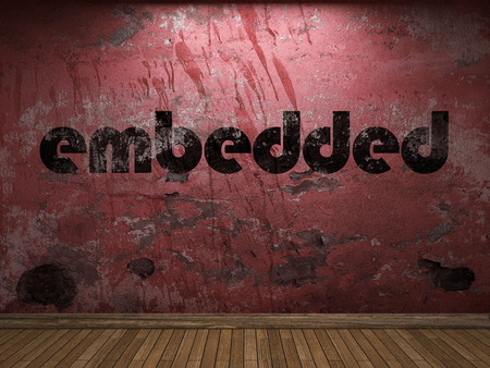 embedded: embedded word on red wall