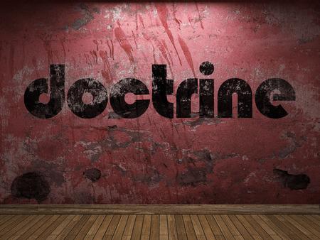 doctrine: doctrine word on red wall Stock Photo