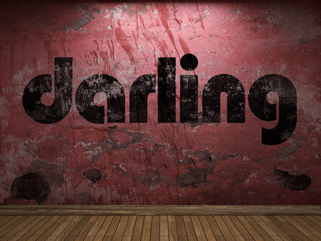 darling: darling word on red wall
