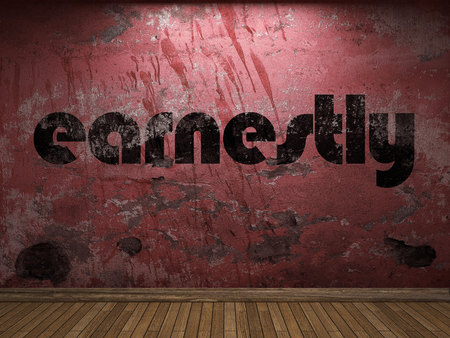 earnestly: earnestly word on red wall