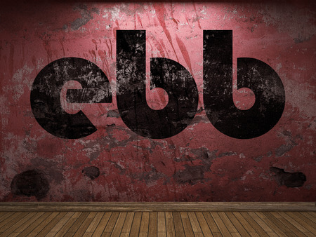 ebb: ebb word on red wall Stock Photo