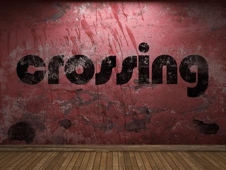 Mot croisement sur mur rouge Banque d'images - 56257294