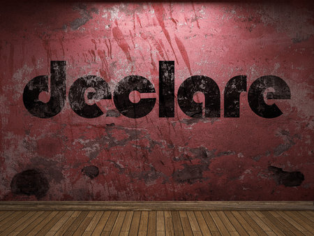 declare: declare word on red wall Stock Photo