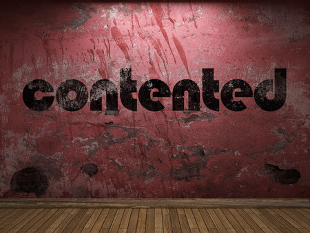 contented: contented word on red wall Stock Photo