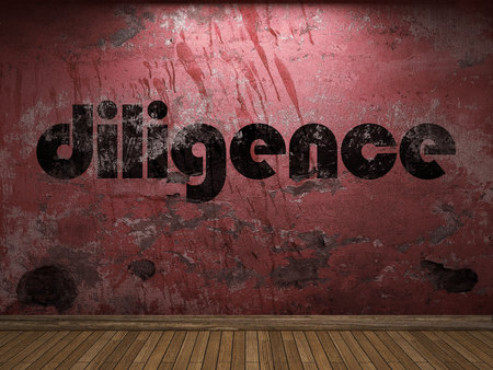 diligence: diligence word on red wall Stock Photo