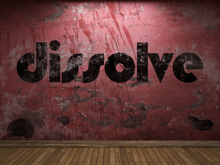 dissolve: dissolve word on red wall