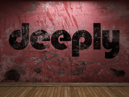 deeply: deeply word on red wall Stock Photo