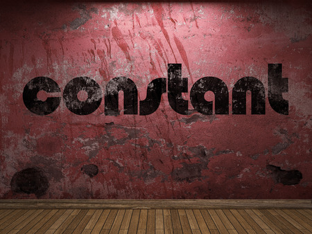 constant: constant word on red wall