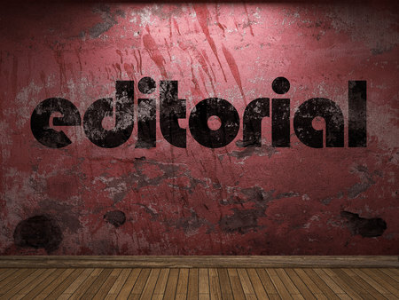 editorial word on red wall