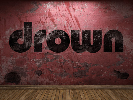 drown: drown word on red wall