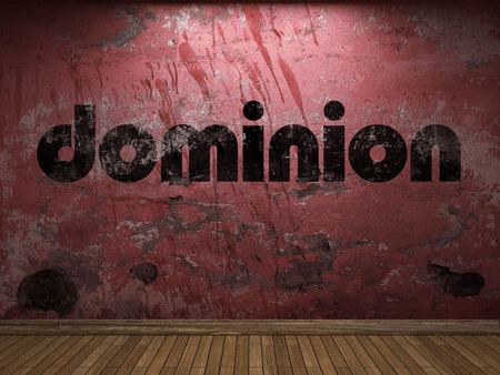 dominion: dominion word on red wall Stock Photo