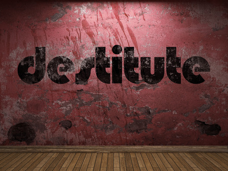 destitute: destitute word on red wall Stock Photo