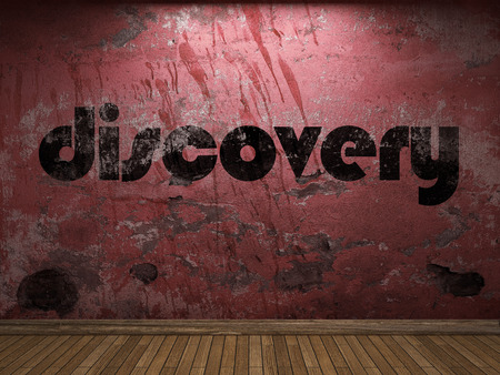 discovery: discovery word on red wall