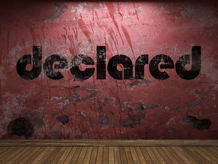 declared: declared word on red wall