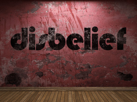 disbelief: disbelief word on red wall