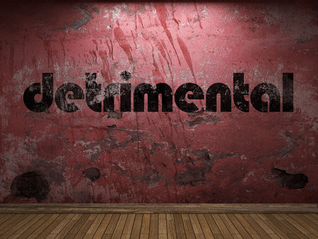 detrimental: detrimental word on red wall Stock Photo