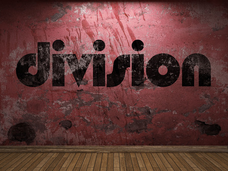 division: division word on red wall Stock Photo