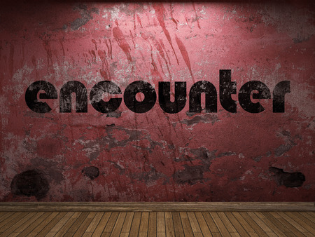 encounter: encounter word on red wall