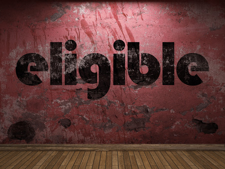 eligible: eligible word on red wall Stock Photo