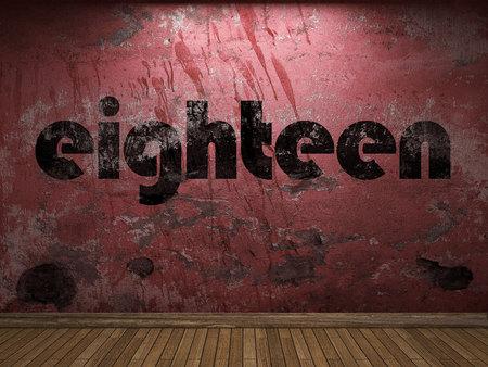 eighteen: eighteen word on red wall Stock Photo