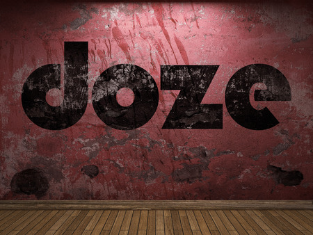 doze: doze word on red wall Stock Photo