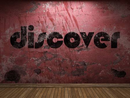 discover: discover word on red wall