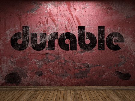 durable: durable word on red wall