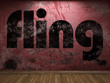 fling: fling word on red wall