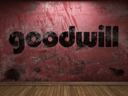 goodwill: goodwill word on red wall