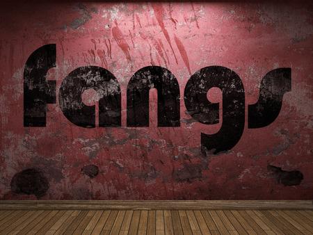 fangs: fangs word on red wall
