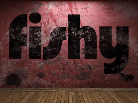 fishy: fishy word on red wall