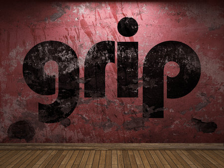 grip: grip word on red wall