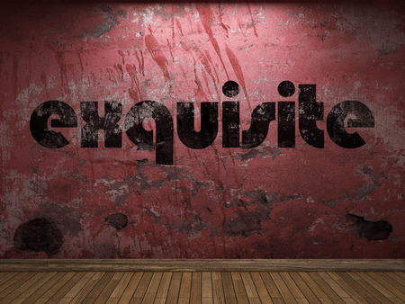 exquisite: exquisite word on red wall Stock Photo