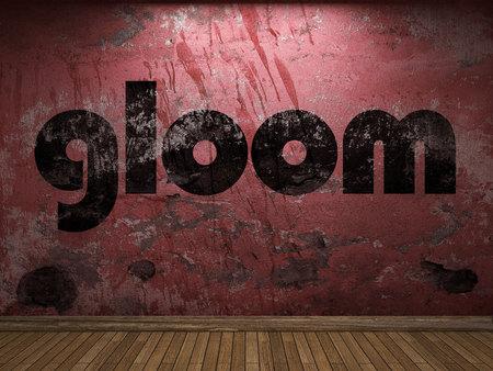 gloom: gloom word on red wall Stock Photo