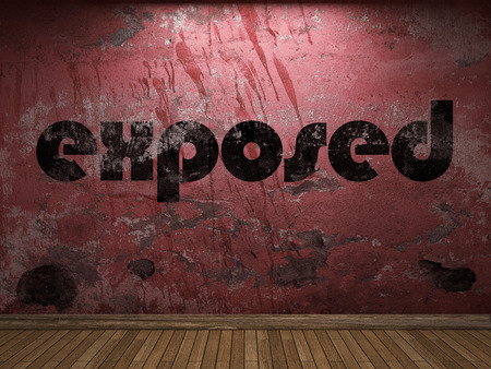 exposed: exposed word on red wall