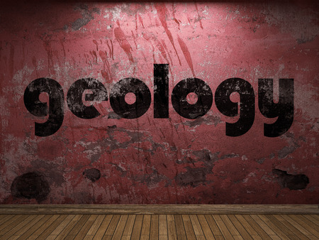 geology: geology word on red wall