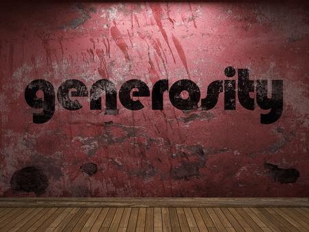 generosity: palabra generosidad en la pared roja
