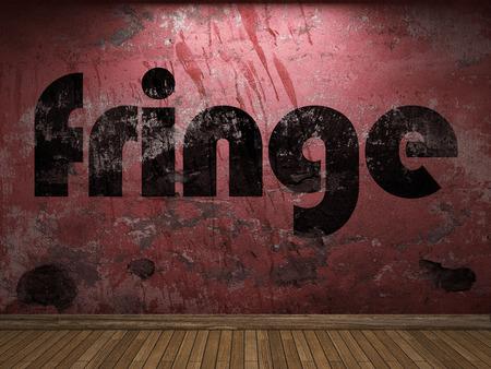 fringe: fringe word on red wall Stock Photo