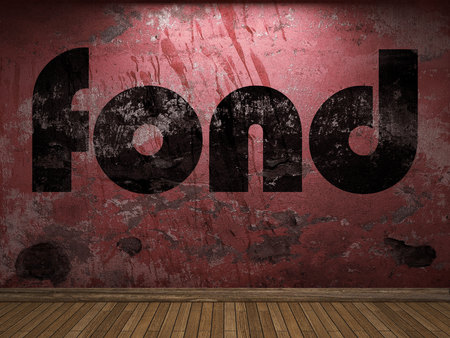 fond: fond word on red wall Stock Photo