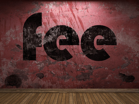 fee: fee word on red wall