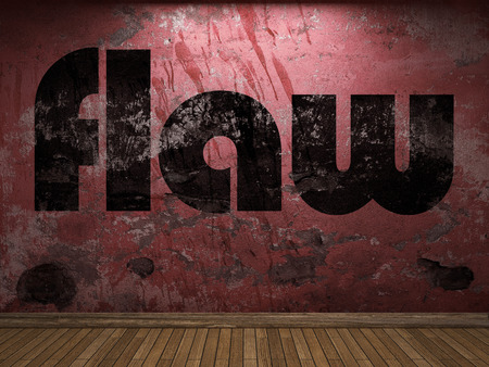 flaw: flaw word on red wall Stock Photo