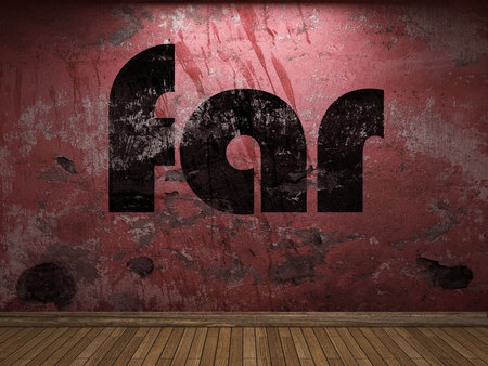 lejos: palabra ahora en la pared roja