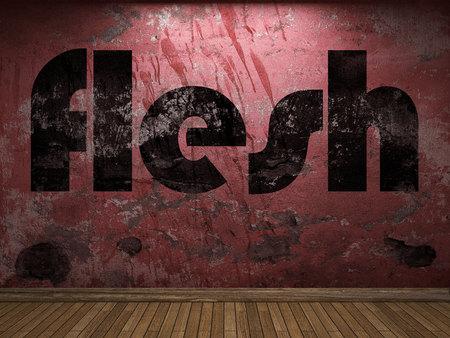 flesh: flesh word on red wall Stock Photo