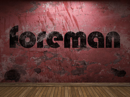 foreman: foreman word on red wall Stock Photo